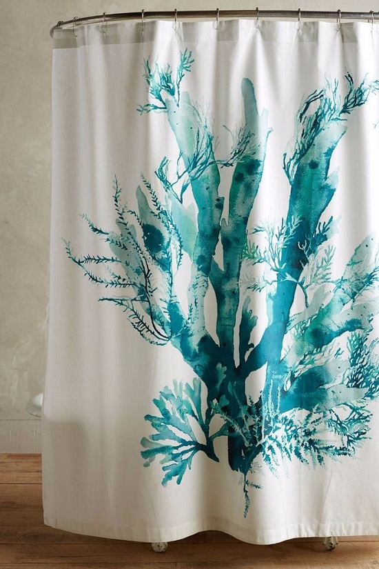 Artistic Blue Tree Bathroom Curtain