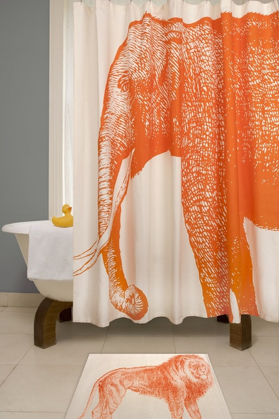 Simple Artistic Exotic Elephant Bathroom Shower Curtain