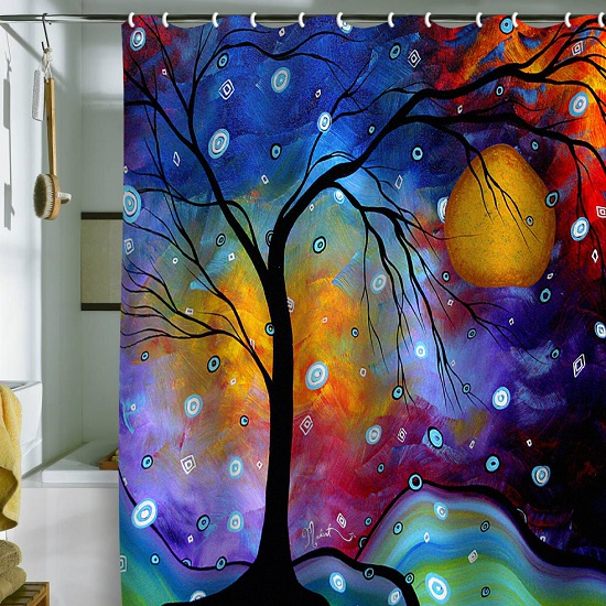 Artistic Magical Night Bathroom Shower Curtain