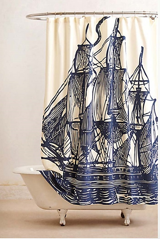 Artistic Sailor Bathroom Curtains