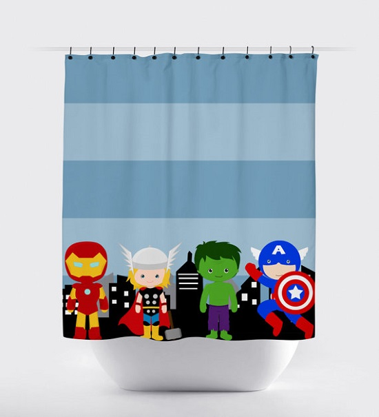 Avengers Kids Bathroom Shower Curtain