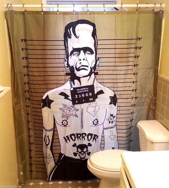Badass Frankenstein Funky Bathroom Curtain