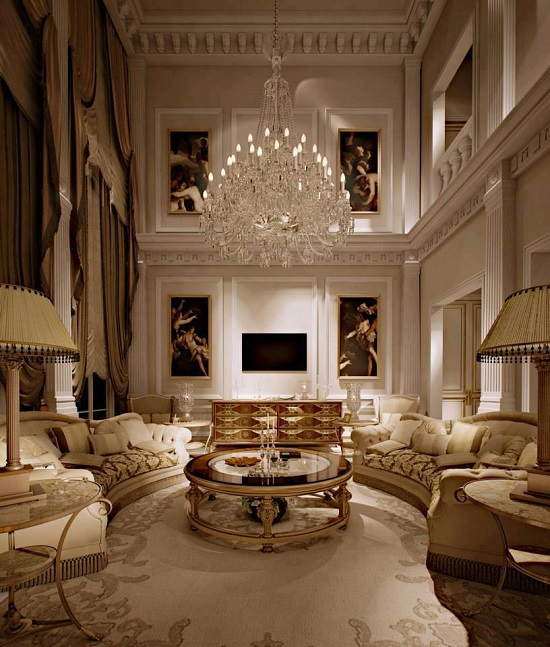 Beautiful Golden Luxury Living Room