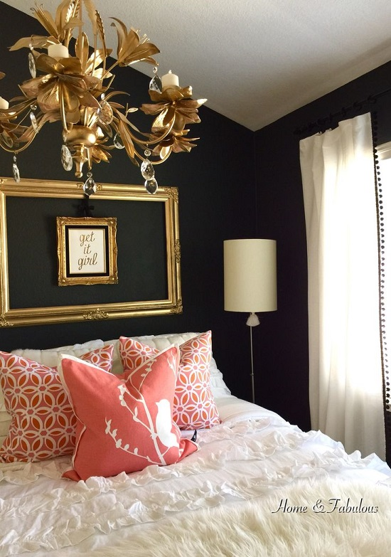 Black & Golden Bedroom with Pink Touch