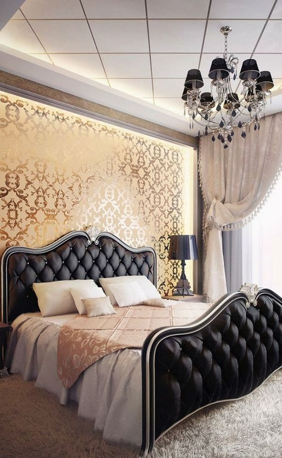 Classic Black Golden Luxury Bedroom Design