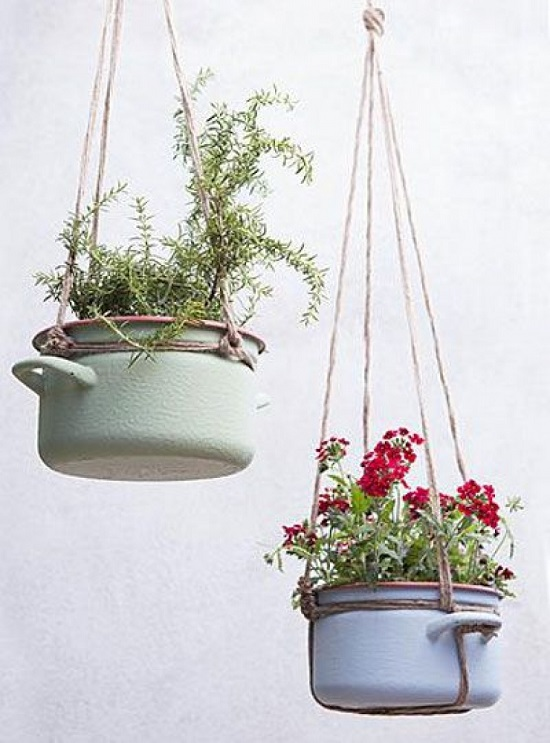 Clic Hanging Indoor Plants In Colorful Kitchen Pots
