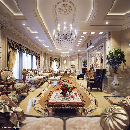 Wonderful Extravagant Royal Luxury Living Room
