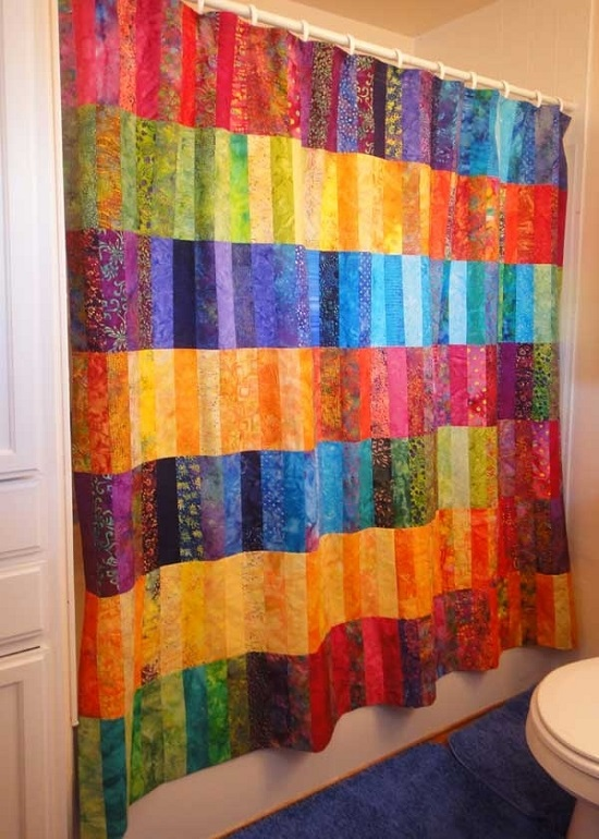 Funky Fabric Multi-Colored Bathroom Curtain