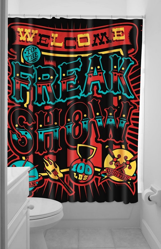 Funky Gothic Freak Show Bathroom Curtain
