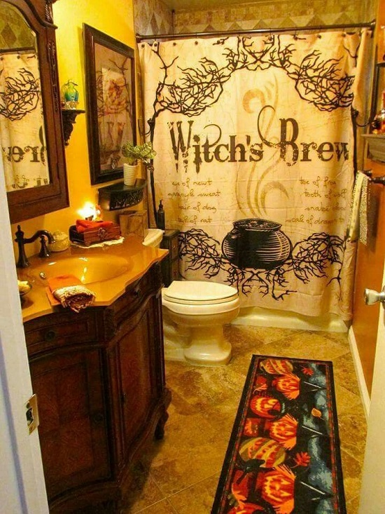 Funky Gothic Witch Bathroom Curtain