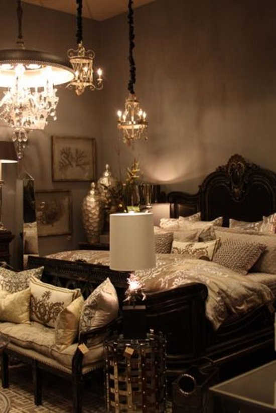 35 gorgeous bedroom designs with gold accents for Black gold interior design