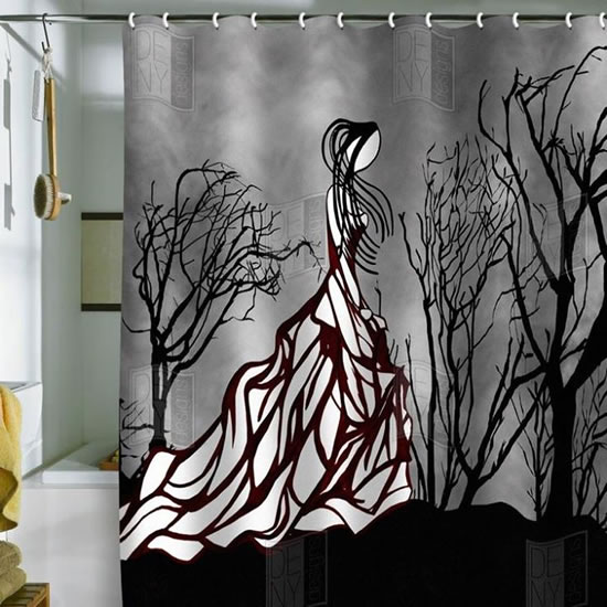 Gothic Lonely Girl Bathroom Shower Curtain