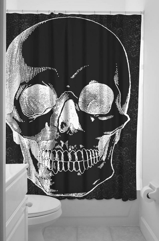 Gothic Skull Bathroom Curtain