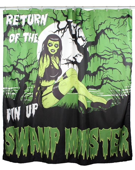 Gothic Swamp Monster Bathroom Curtain