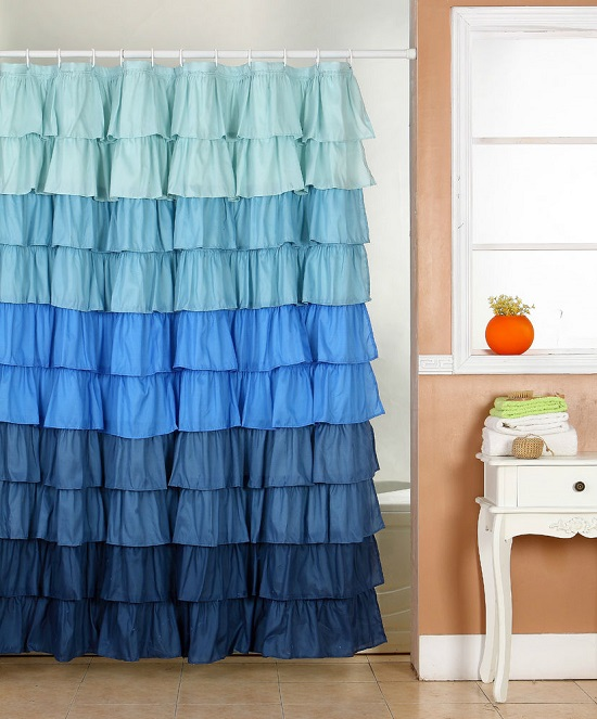 Layered Fabric Shower Curtain