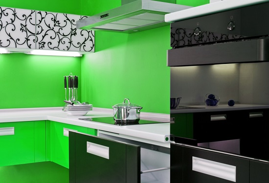 Lime Green And Black Mesmerizing Kitchen Design Idea