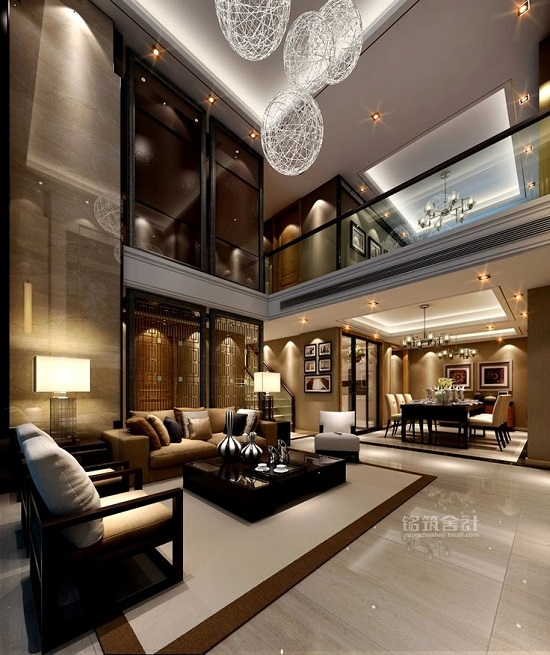 Modern Black, White And Golden Luxury Living Room