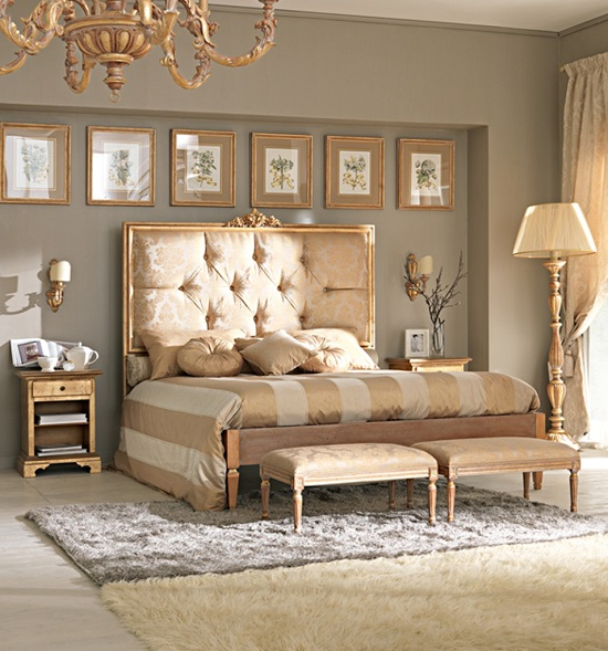 modern royal blend of gold accent bedroom design - Modern Bedroom Decorating