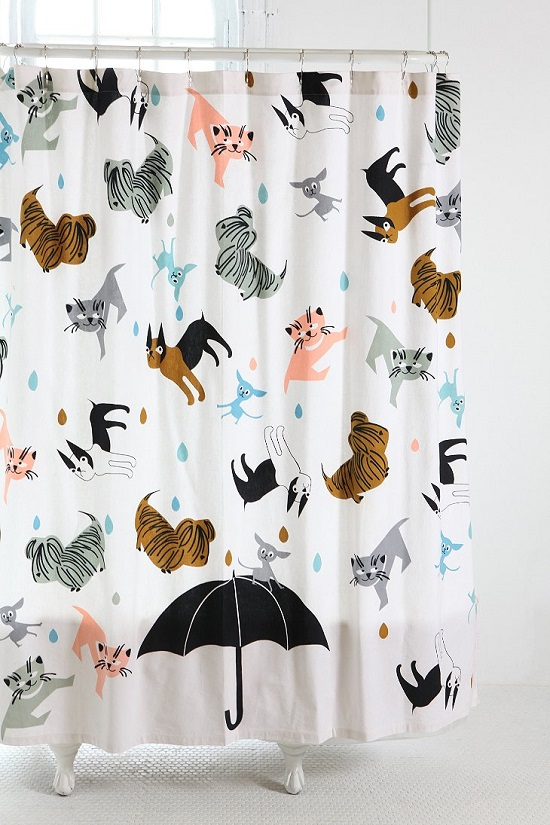 Raining Cats Kids Bathroom Shower Curtain