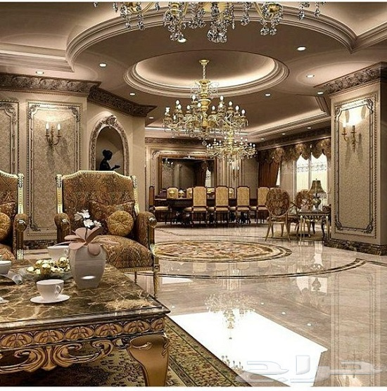 Sparkling Royal Golden Luxury Living Room Part 69