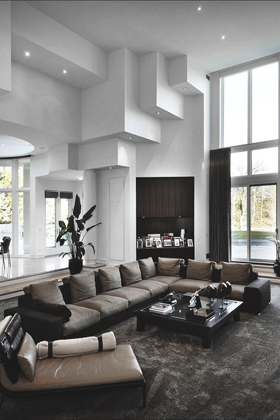 37 fascinating luxury living rooms designs for Interior house designs black and white