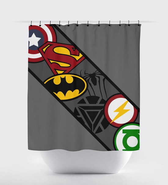 Superhero Kids Bathroom Shower Curtain