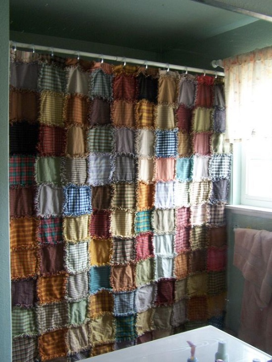 Ultimate Fabric Patchwork Multi-Colored Bathroom Curtain