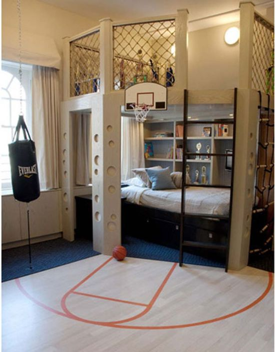 Nice Basketball Themed Teen Bedroom Decor