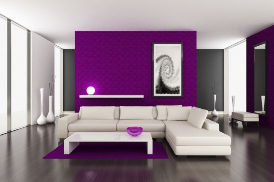 Beautiful Purple Accent Wall In Living Room