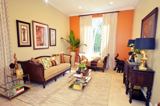Orange Accent Wall In Living Room Centerfieldbar Com