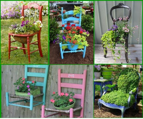 creative diy garden idea with old chairs