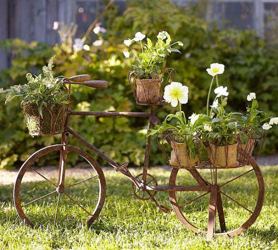Diy Garden Ideas make a vertical garden with tiny planters mounted on a fence Diy Garden Idea With Old Cycle