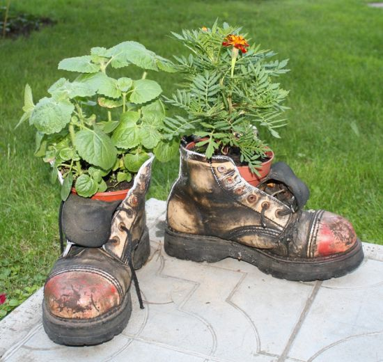 Garden Idea find this pin and more on railway sleeper garden idea Diy Garden Idea With Old Shoes