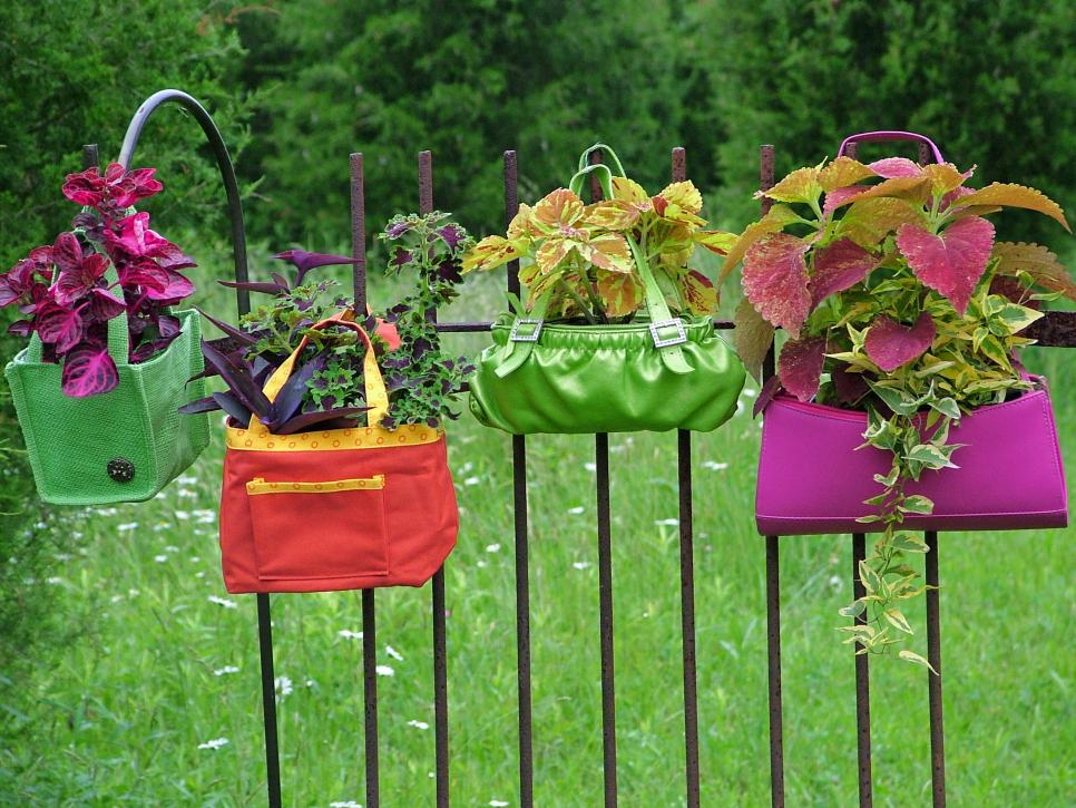 Hanging Garden Ideas the in budget rain gutter Diy Hanging Garden Idea With Old Bags And Purses