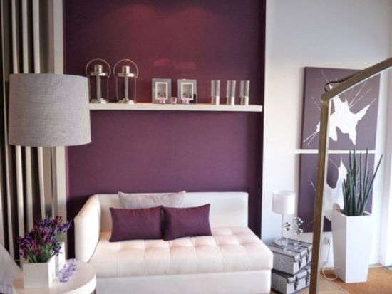 Delightful Purple Accent Wall In Living Room