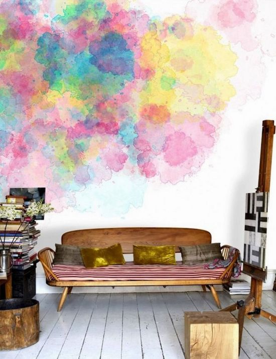 Dreamy Water Color Designs On Accent Wall