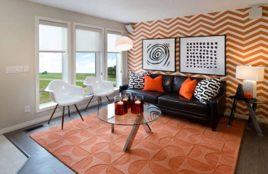 Geometric Orange Accent Wall In Living Room