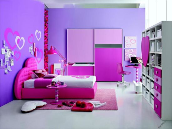 hearts themed fun teen bedroom decor - Girls Bedroom Decorating Ideas