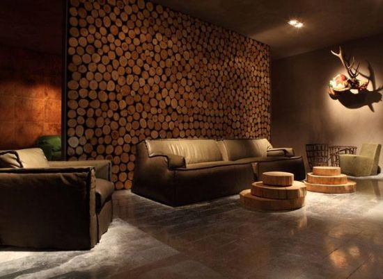 Superb Living Room Accent Wall Made Of Wooden Logs