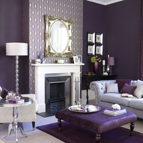 Living Room Purple Accented Wall With White Patterns