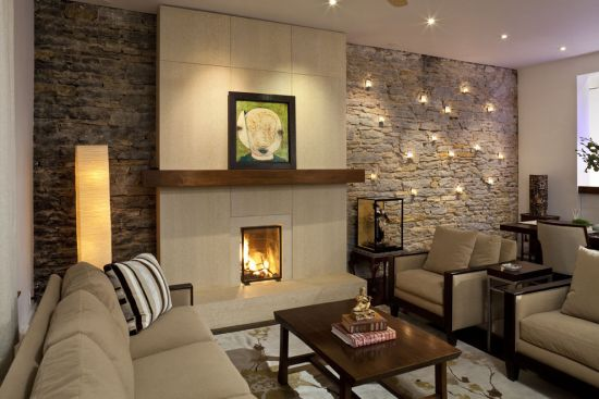 33 stunning accent wall ideas for living room Modern living room with fireplace
