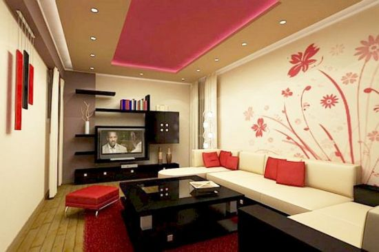 Elegant Red Floral Accent Wall In Living Room