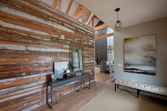 Stylish Accent Wall In Salvaged Wood. Image Credit: Decoist. Accent Wall  Ideas Living Room ...