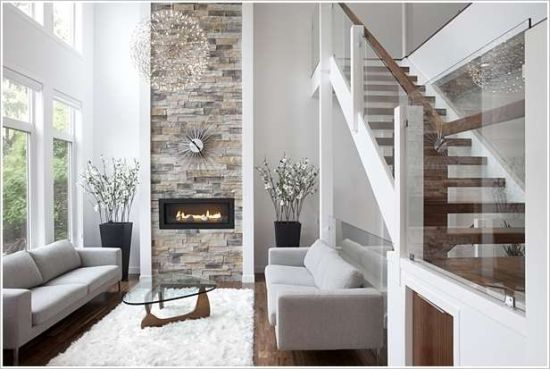 stylish stone accent wall idea - Accent Wall Design Ideas