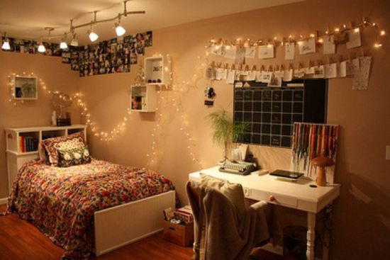Teen Bedroom Decoration With Fairy Lights And Photographs