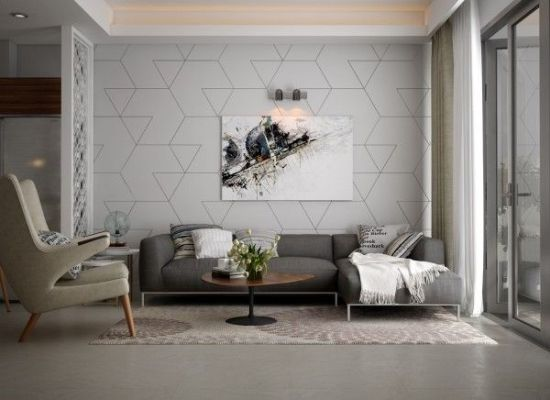 trendy living room accent wall with geometric patterns - Accent Wall Design Ideas