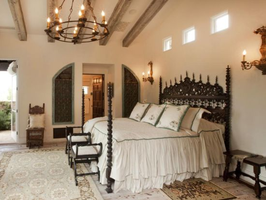 Alluring Rustic Chandelier In Master Bedroom