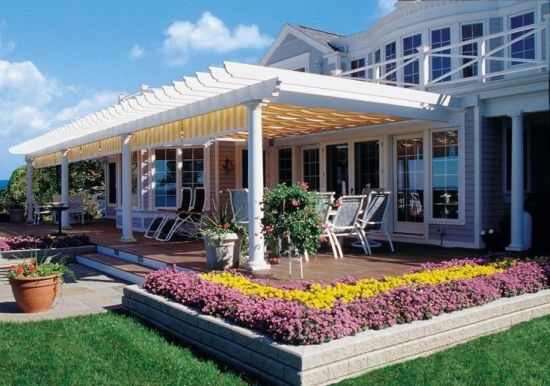Gorgeous Vinyl Pergola Design For Front Portion Of A House