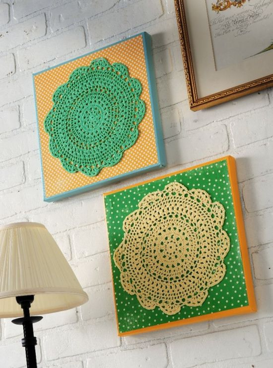 DIY Home Decorating Cute DIY Vintage Doily Wall Art