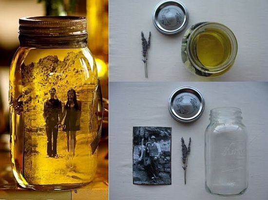 DIY vintage photo mason jar decor. 37 DIY Home Decor Ideas for a Vintage Look